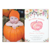 Pumpkin First Birthday Invitation Pink Floral