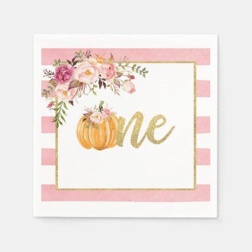Pumpkin First Birthday Napkin - Floral Pink Stripe