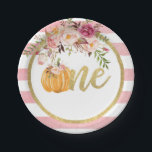 "Pumpkin First Birthday Paper Plate - Floral Stripe<br><div class=""desc"">Perfect item to compliment any Pumpkin First Birthday Party!</div>"