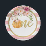 """Pumpkin First Birthday Paper Plate - Floral Stripe<br><div class=""""desc"""">Perfect item to compliment any Pumpkin First Birthday Party!</div>"""