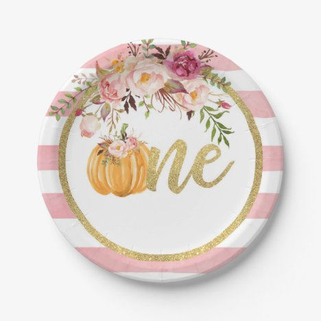 Pumpkin First Birthday Paper Plate - Floral Stripe