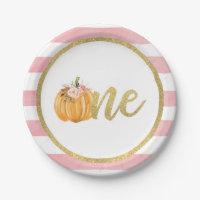 Pumpkin First Birthday Paper Plate - Pink Stripes