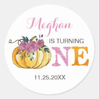 Pumpkin first birthday sticker