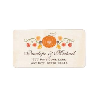 Pumpkin Floral Acorn Wedding Label