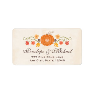 Pumpkin Floral Acorn Wedding Label