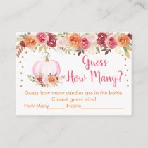Pumpkin Floral Guess How Many Baby Shower Game Enclosure Card