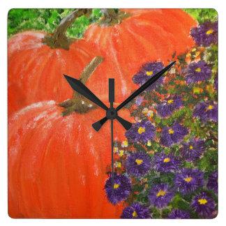 Pumpkin Floral Square Wall Clock