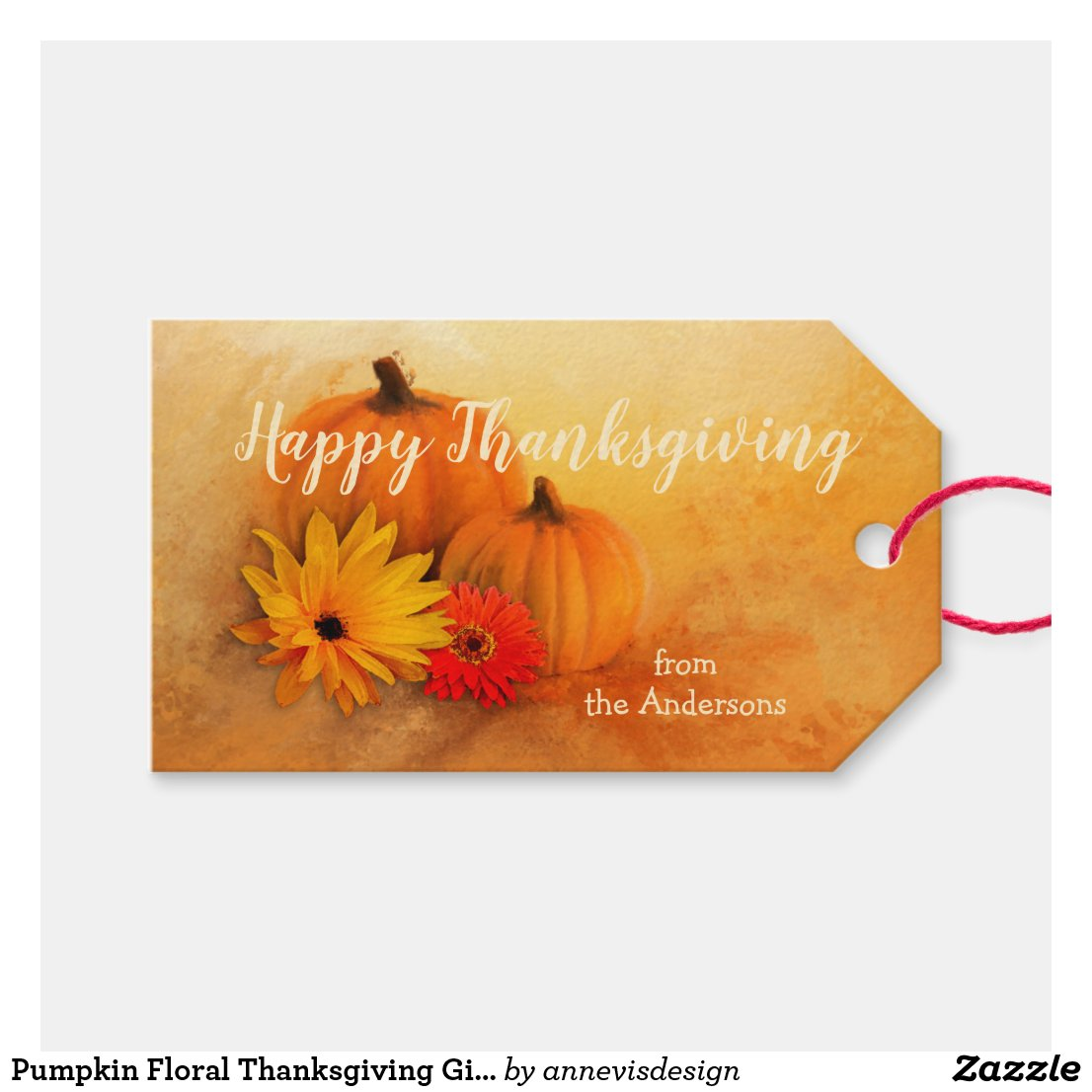 Pumpkin Floral Thanksgiving Gift Tag