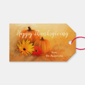 Pumpkin Floral Thanksgiving Gift Tag