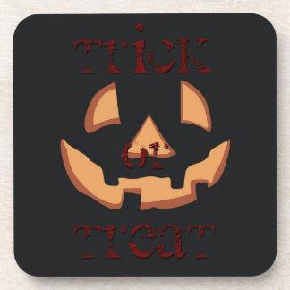 Pumpkin for Halloween in Black Coasters