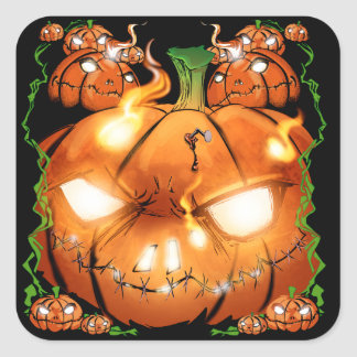Pumpkin Friends Square Sticker