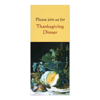 PUMPKIN , FRUITS AND GLASSWARE Thanksgiving Dinner Card