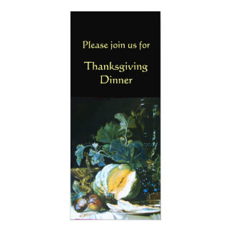 PUMPKIN , FRUITS AND GLASSWARE Thanksgiving Dinner Card