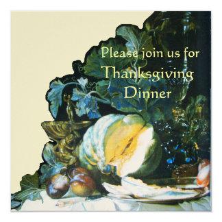 PUMPKIN ,FRUITS AND GLASSWARE Thanksgiving Dinner Card