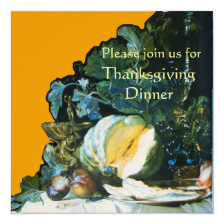 PUMPKIN ,FRUITS AND GLASSWARE Thanksgiving Dinner 5.25x5.25 Square Paper Invitation Card