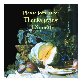 PUMPKIN , FRUITS AND GLASSWARE Thanksgiving Dinner 5.25x5.25 Square Paper Invitation Card