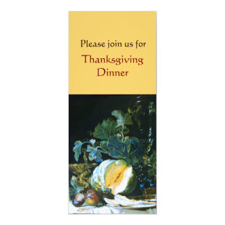 PUMPKIN , FRUITS AND GLASSWARE Thanksgiving Dinner 4x9.25 Paper Invitation Card