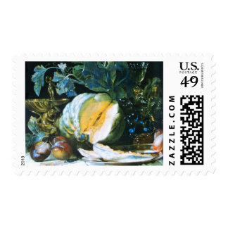 PUMPKIN ,FRUITS AND GLASSWARE Thanksgiving Dinner Stamp