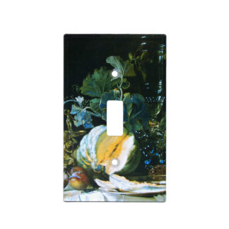 PUMPKIN , FRUITS ,GREEN LEAVES  AND GLASSWARE LIGHT SWITCH COVER