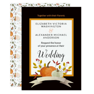 Pumpkin Fun/Thanksgiving Theme Wedding/ Invitation
