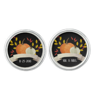 Pumpkin Fun / Thanksgiving Wedding / Black Cufflinks