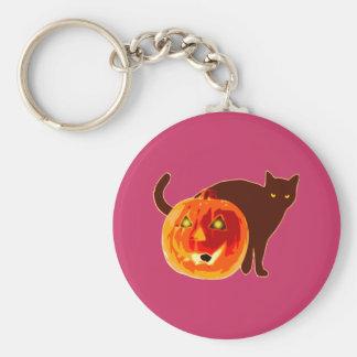 Pumpkin gato víspera de todos los santos calabaza  llavero redondo tipo pin
