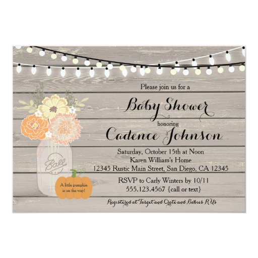 Pumpkin Gender Neural Baby Shower Invitation