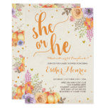 Pumpkin Gender Reveal Invite Rustic Fall Shower