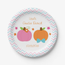 Pumpkin Gender Reveal Paper Plate