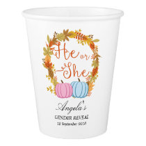 Pumpkin Gender Reveal Party Paper Cups