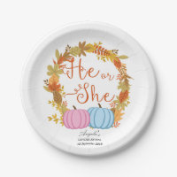 Pumpkin Gender Reveal Party Paper Plates