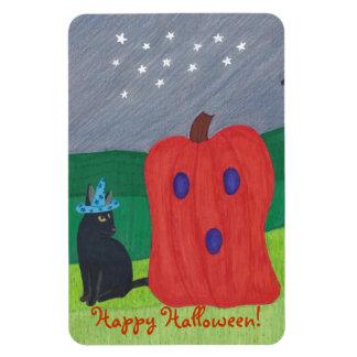 Pumpkin Ghost and Wizard Cat Halloween Magnets