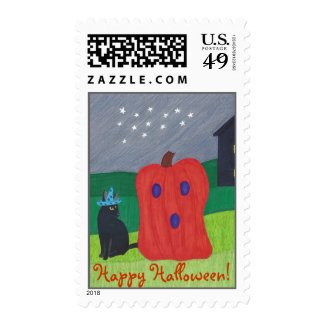 Pumpkin Ghost and Wizard Cat Halloween Stamps