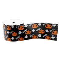 Pumpkin Ghost Halloween Pattern Grosgrain Ribbon
