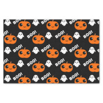 Pumpkin Ghost Halloween Pattern Tissue Paper