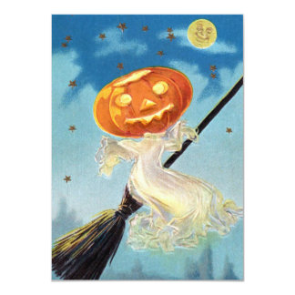 Pumpkin Ghost Witch Card