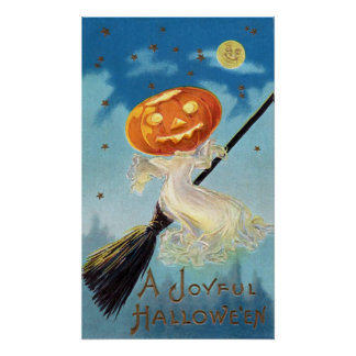 Pumpkin Ghost Witch Poster