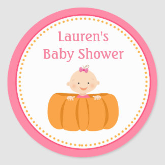 Pumpkin Girl Baby Shower Favor Tag Stickers