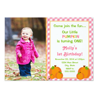 Pumpkin Girl Birthday Invitation 5x7 Photo Card