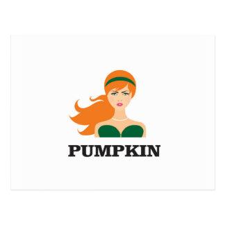 pumpkin girl hot postcard
