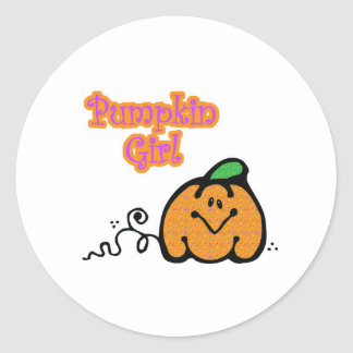 Pumpkin Girl Classic Round Sticker