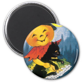 Pumpkin Girl with Scared Cat 2 Inch Round Magnet