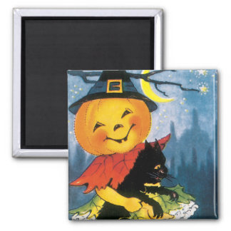 Pumpkin Girl with Scared Cat 2 Inch Square Magnet