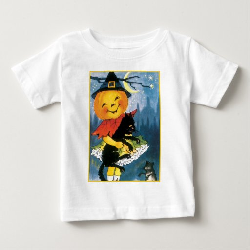 Pumpkin Girl with Scared Cat Baby T-Shirt