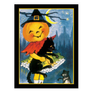 Pumpkin Girl with Scared Cat Postcard