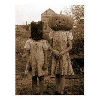 Pumpkin girl with the black sack postcard