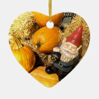 Pumpkin Gnome II Double-Sided Heart Ceramic Christmas Ornament