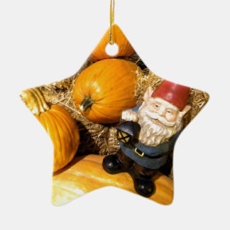 Pumpkin Gnome II Double-Sided Star Ceramic Christmas Ornament