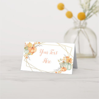 Pumpkin Gold Frame Place Card