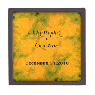 Pumpkin Gold Olive Green Fall Wedding Personalized Gift Box
